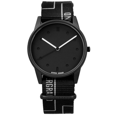 HyperGrand 黑白柵門 首創印花設計 極簡面板 尼龍手錶-黑白色/38mm