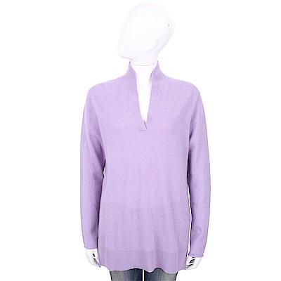 ALLUDE 100%喀什米爾淺紫色立領針織羊毛衫