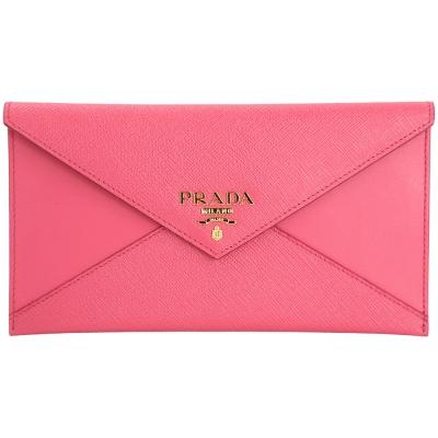 PRADA Envelope 拼接信封設計釦式長夾/手拿包(桃粉色)