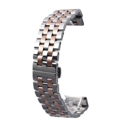 PARNIS BOX 22mm 代用錶帶 雙向按壓鋼帶 不鏽鋼 IP電鍍 五排款 金銀雙色
