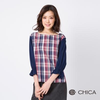 CHICA 深秋盎然格紋拼接七分縮口袖上衣(2色)