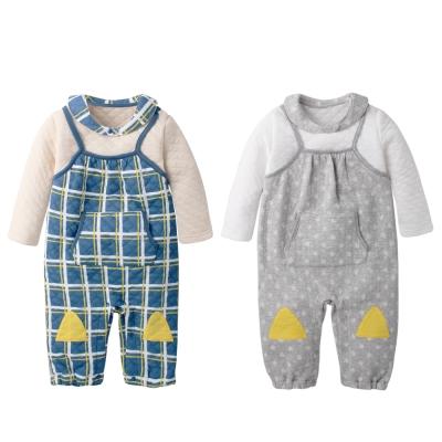 baby童衣 小領巾加長袖細繩吊帶褲假兩件式爬服 61097