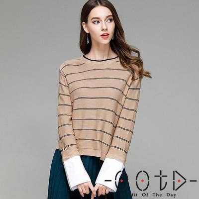 圓領寬條紋長袖針織上衣 (共三色)-OOTD