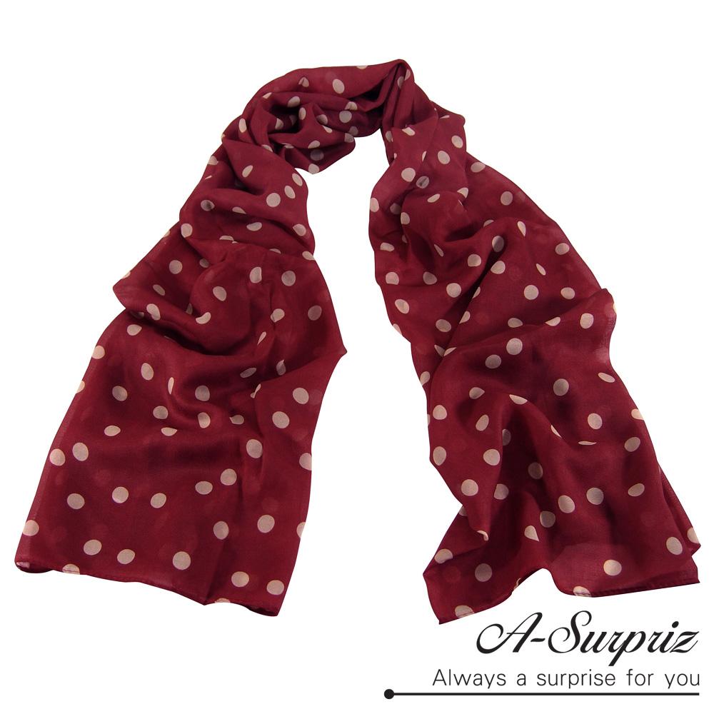 A-Surpriz 甜美點點雪紡紗圍巾(酒紅系)