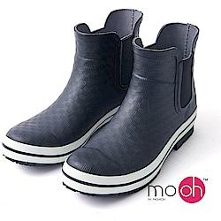 mo.oh愛雨天-格紋厚底鬆緊帶短筒登山雨鞋-黑