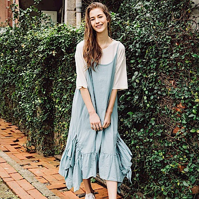 CACO-荷葉擺吊帶洋裝(兩色)-女【PSH041】