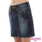 【SOMETHING】輕甜花漾 ViENUS刷色牛仔短裙-女款(中古藍)