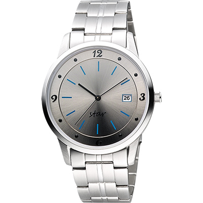 STAR 藝術時尚簡約風情腕錶-銀灰/40mm