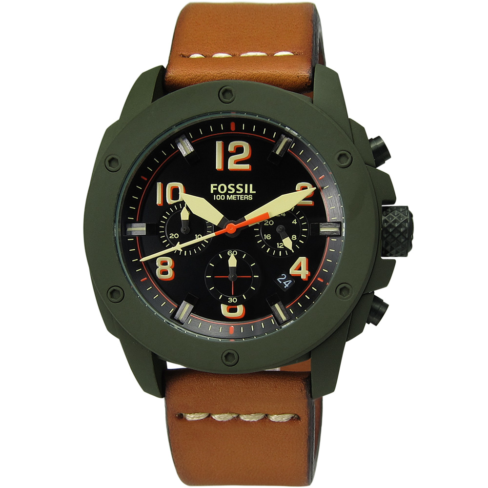 FOSSIL Modern 軍事情報三環計時真皮腕錶-黑x褐/45mm