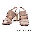 涼鞋 MELROSE 摩登典雅壓紋牛皮雙字帶繫帶金屬高跟涼鞋-米