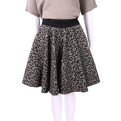 SI-JAY 黑色豹紋棉質傘狀短裙