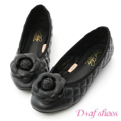 D+AF 復古甜心.小香風山茶花菱格娃娃鞋*黑