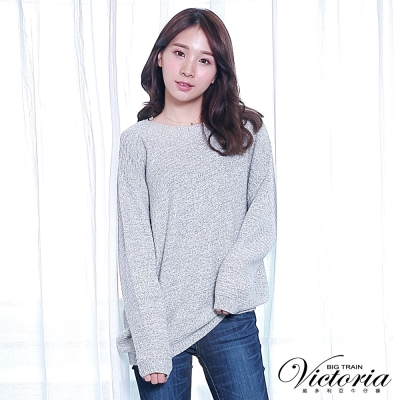 Victoria 不規則織條變化長袖線衫-女-芽白混紗