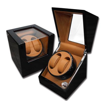 機械錶自動上鍊盒 1旋2入錶座轉動 鋼琴烤漆 - 黃棕x黑
