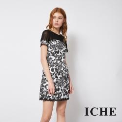ICHE 衣哲 立體刺繡提花蕾絲拼接造型洋裝