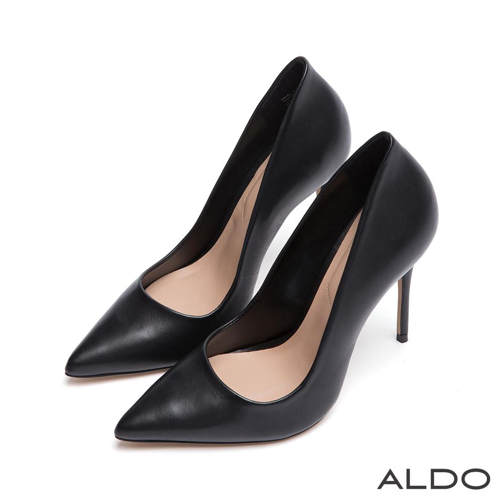 ALDO 摩登美人IN原色真皮尖頭細高跟鞋~尊爵黑色