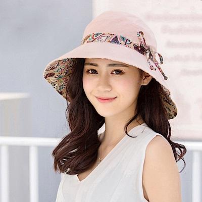 幸福揚邑 愛心紋大帽檐抗UV防紫外線雙面配戴可摺疊遮陽帽-粉紅