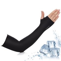 活力揚邑 涼感防曬UPF50抗UV吸濕排汗萊卡袖套臂套-個性黑