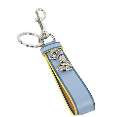 COACH蝴蝶吊飾皮帶鑰匙圈(淺藍)