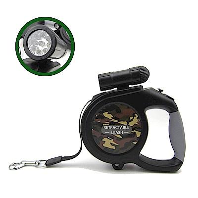 摩達客 可拆式9燈LED超亮手電筒寵物自動伸縮牽繩(綠迷彩/8米長/50KG以下適用)