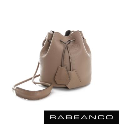 RABEANCO-真皮荔枝紋經典束口水桶包-駝