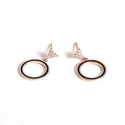 微醺禮物 正韓 鍍K金銀針 黑色鏤空圓圈 倒三角鑲鋯 耳針 耳環