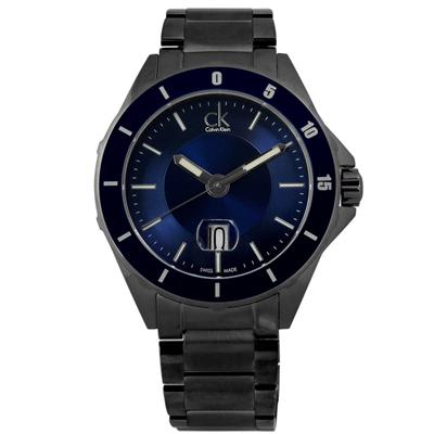 CK 完美霸氣日期不鏽鋼腕錶-藍x鍍黑/ 44 mm