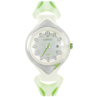 Speedo-漫步雨中休閒腕錶-白x綠-33mm