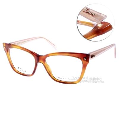 DIOR眼鏡 摩登貓眼系列/琥珀霧粉紅#CD3269 3JY