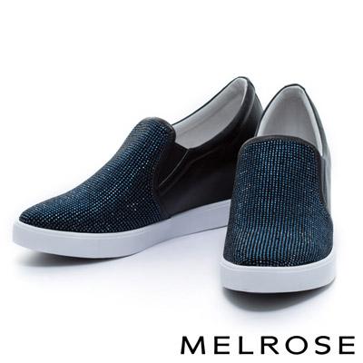 MELROSE-異材質拼接流全真皮晶鑽內增高厚底休