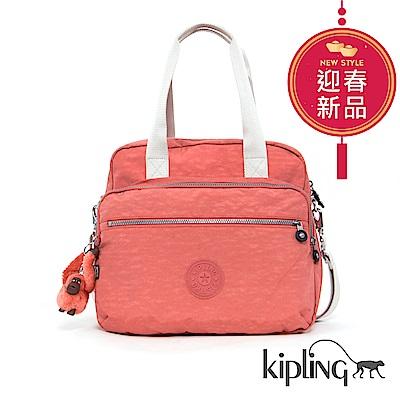 Kipling 手提包 粉橘素面-大