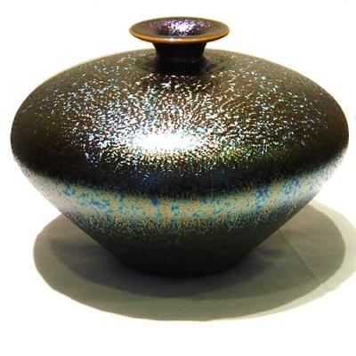 (小飛碟瓶)繽紛人生聚寶盆禮品~郭明本錳七彩結晶釉鎏金瓶