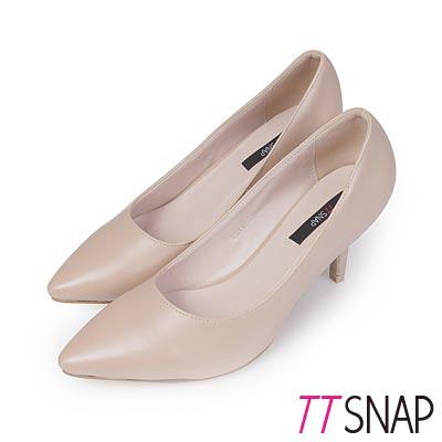 TTSNAP高跟鞋-台灣製造素面小尖頭OL跟鞋-膚