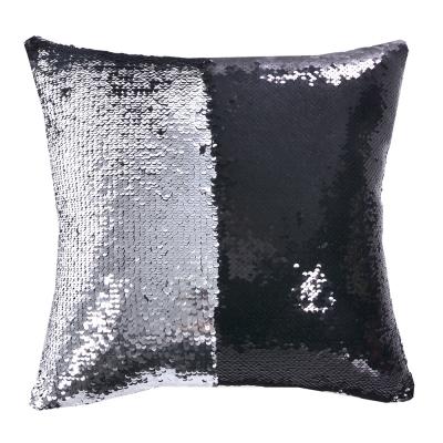 魔術雙色亮片方型抱枕/靠枕 (黑銀色)
