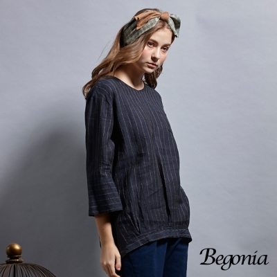 Begonia V領細條紋收襬口袋上衣(共兩色)