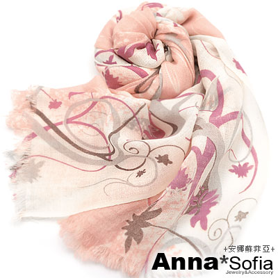 AnnaSofia-幻蓮雅粉-薄款純羊毛圍巾-短鬚-桔粉