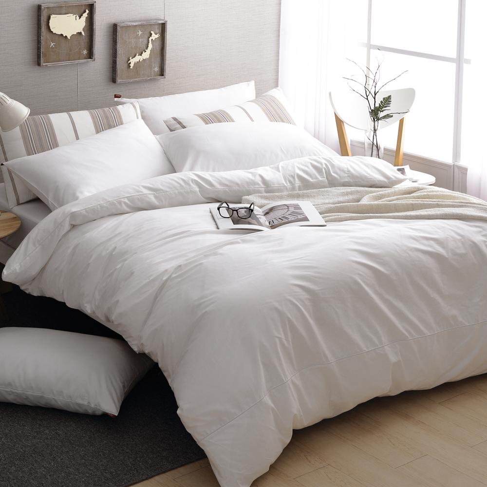 DON 極簡生活-晨光白 雙人四件式200織精梳純棉被套床包組