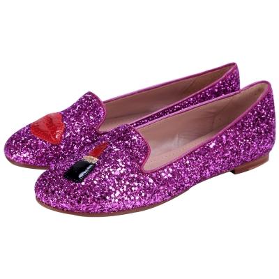 Chiara Ferragni make up 紅唇唇膏圖案亮片樂福鞋(桃紫色)