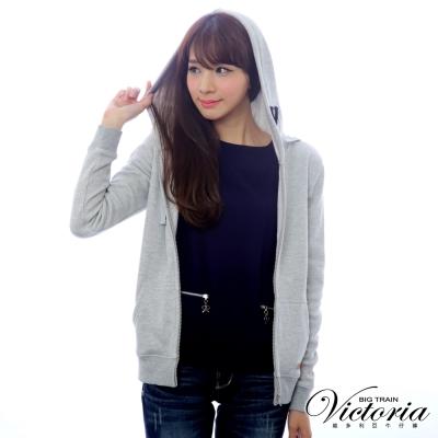 Victoria 繡字連帽休閒外套-女-麻灰