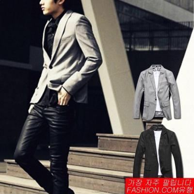 FASHION館 韓系腰身剪裁單釦微光澤西裝外套-共二色