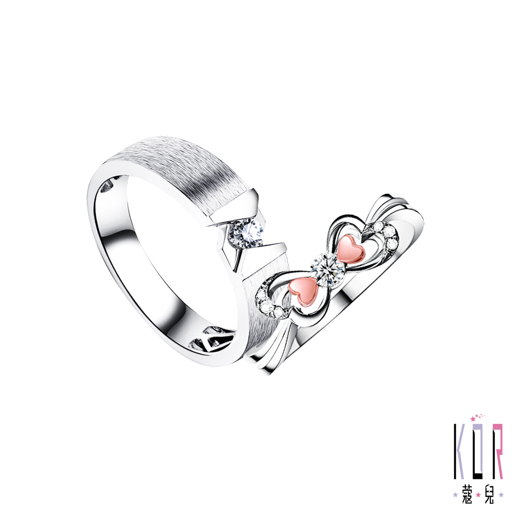 K'OR蔻兒 幸福空間鑽石/玫瑰K金/白鋼成對戒指