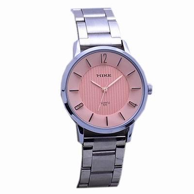 Mirabelle 立體數字 圓框雙色不鏽鋼錶 粉面32mm
