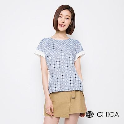CHICA 浪漫日常雕花布蕾絲拼接上衣(2色)