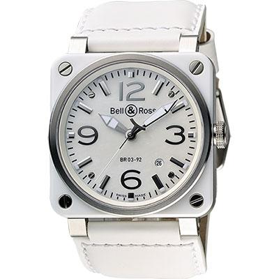 Bell & Ross Aviation 軍事飛行陶瓷機械腕錶-珍珠貝x白/42mm