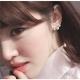 梨花HaNA  簡單感受三顆珍珠鑲鑽耳環夾式