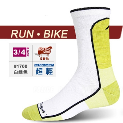 【DARN TOUGH 】VERMONT 美麗諾羊毛襪(2入)_白綠
