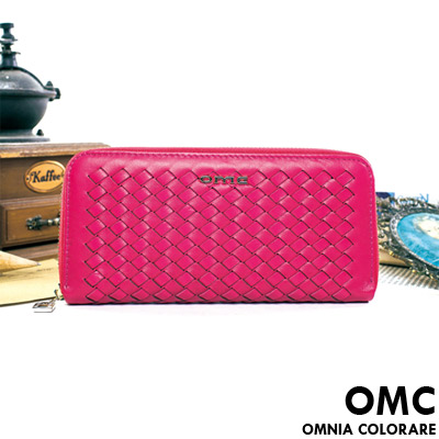 OMC - 韓國專櫃立體編織真皮單拉鍊長夾-甜美桃