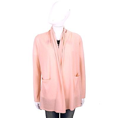 ALLUDE 100%羊毛粉橘色雙口袋慵懶鬆領針織外套
