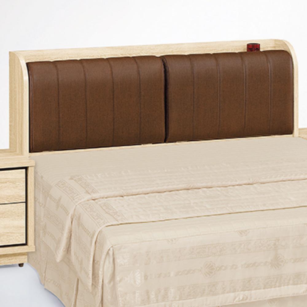 品家居 胡迪5尺橡木紋雙人皮面床頭箱