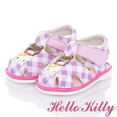 HelloKitty 好朋友系列-格紋減壓輕量嗶嗶學步童鞋-紫